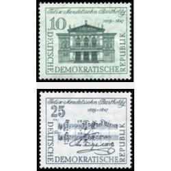 2 عدد تمبر یادبود فلیکس مندلسون - آهنگساز - جمهوری دموکراتیک آلمان 1959