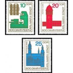 3 عدد تمبر 800مین سال کلیسای کارل مارکس اشتاد - جمهوری دموکراتیک آلمان 1965