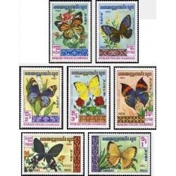 7 عدد تمبر پروانه ها - کامبوج 1983