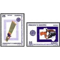2 عدد تمبر مشترک اروپا - Europa Cept - اسپانیا آندورا 1991