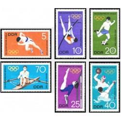 6 عدد تمبر بازیهای المپیک مکزیکو سیتی - جمهوری دموکراتیک آلمان 1968