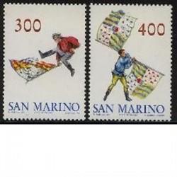 2 عدد تمبر پرچمها - سان مارینو 1984