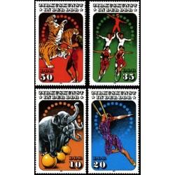 4 عدد تمبر هنر سیرک - B - جمهوری دموکراتیک آلمان 1985 قیمت 33.5 دلار