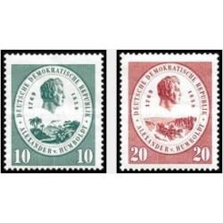2 عدد تمبر یادبود الکساندر فون هامبولت - بنیانگذار جغرافیای نوین - جمهوری دموکراتیک آلمان 1959