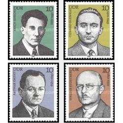 4 عدد تمبر شخصیتهای جنبش کارگری  - جمهوری دموکراتیک آلمان 1981
