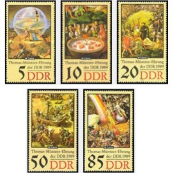 5 عدد تمبر جنبش توماس مانتزر - اصلاح طلب  - جمهوری دموکراتیک آلمان 1989
