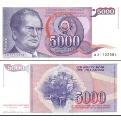 اسکناس 5000 دینار - یوگوسلاوی 1985 تاریخ فوت تیتو در روی اسکناس 1980