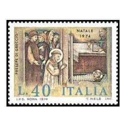 1 عدد تمبر کریسمس - ایتالیا 1974