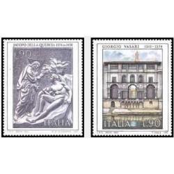 2 عدد تمبر هنرمندان ایتالیایی- تابلو نقاشی - ایتالیا 1974