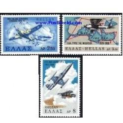 3 عدد تمبر نیروی هوایی - یونان 1968