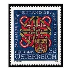 1 عدد تمبر50مین سالگرد ایالت بورگنلند در اتریش - اتریش 1971