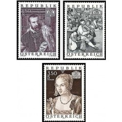 3 عدد تمبر گنجینه های هنری در اتریش -تابلو نقاشی - اتریش 1971