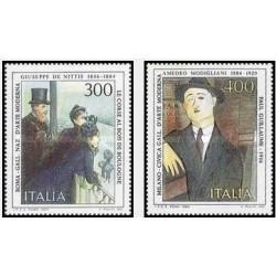 2 عدد تمبر هنرمندان ایتالیایی- تابلو نقاشی - ایتالیا 1984