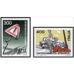 2 عدد تمبر ایمنی جاده ها - ایتالیا 1984