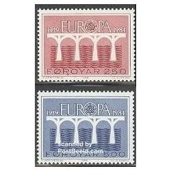 2 عدد تمبر مشترک اروپا - Europa Cept- جزایر فارو 1984