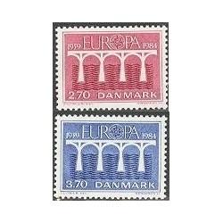 2 عدد تمبر مشترک اروپا - Europa Cept - دانمارک 1984