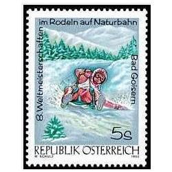 1 عدد تمبر هشتمین مسابقات جهانی قهرمانی سورتمه سواری  - اتریش 1992