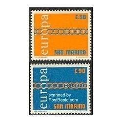 2 عدد تمبر مشترک اروپا - Europa Cept - سان مارینو 1971