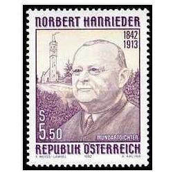 1تمبر 150مین سالگرد تولد شاعر محلی نوربرت هانریدر- اتریش 1992