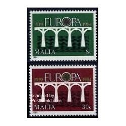 2 عدد تمبر مشترک اروپا - Europa Cept - مالت 1984
