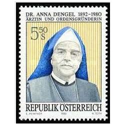 1 عدد تمبر صدمین سالگرد تولد دکتر آنا دنجل - اتریش 1992