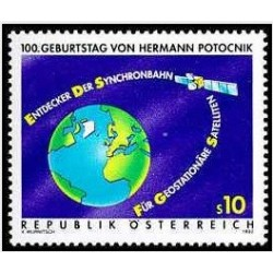 1عدد تمبر صدمین سالگرد تولد پیشتاز فضا هرمان پاتونیک - مهندس راکت - اتریش 1992