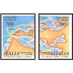 2عدد تمبر اولین سفر کلمب - ایتالیا 1990