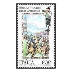 1 عدد تمبر جشنهای محلی -اسب مسابقه ای نژاد مرانو - ایتالیا 1990