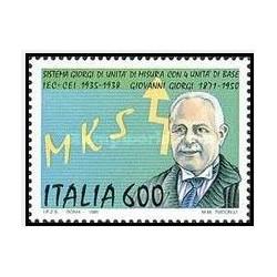 1 عدد تمبر 50مین سالگرد سیستم متریک در ایتالیا - ایتالیا 1990