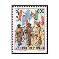 1 عدد تمبرصدمین سالگرد روز جهانی کارگر- ایتالیا 1990