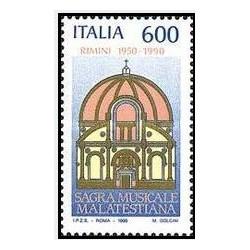 1 عدد تمبر چهلمین سالگرد جشنواره موسیقی مالاتستیانا ، ریمینی- ایتالیا 1990