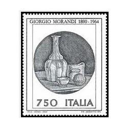 1 عدد تمبر صدمین سالگرد تولد جورجیو موراندی - نقاش - ایتالیا 1990