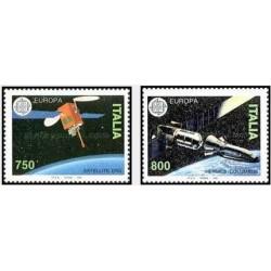 2 عدد تمبر مشترک اروپا - Europa Cept - ماهواره - ایتالیا 1991
