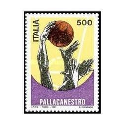 1 عدد تمبر یکصدمین سالگرد بسکتبال - ایتالیا 1991
