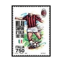 1 عدد تمبر قهرمان جام  فوتبال ایتالیا - آس میلان - ایتالیا 1993