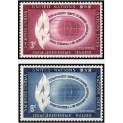 2 عدد تمبر روز حقوق بشر - نیویورک ، سازمان ملل 1956