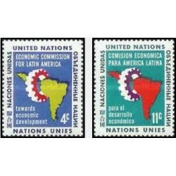 2 عدد تمبر کمیسیون اقتصادی برای آمریکای لاتین - نیویورک ، سازمان ملل 1961