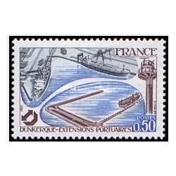1 عدد تمبر توسعه بندر دونکرک - فرانسه 1977