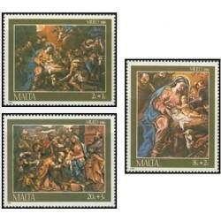 3 عدد تمبر کریسمس - مالت 1986