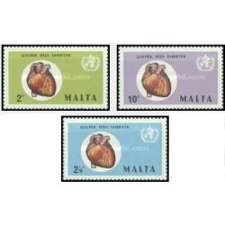 3 عدد تمبر کمپین بین المللی قلب - مالت 1972
