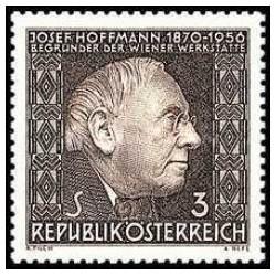 1 عدد تمبر دهمین سالگرد مرگ ژوزف هوفمان - معمار - اتریش 1966