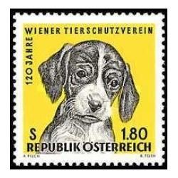 1 عدد تمبر 120مین سالگرد انجمن پیشگیری از خشونت علیه حیوانات  - اتریش 1966