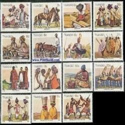 15 عدد تمبر سری پستی قبایل آفریقا - ترنسکی - آفریقای جنوبی 1984