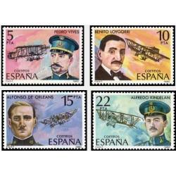4 عدد تمبر پیشگامان هوانوردی - اسپانیا 1980