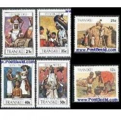 6 عدد تمبر سری پستی قبایل - ترنسکی - آفریقای جنوبی 1990- 1985