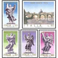 5 عدد تمبر سال مقدس - تابلو نقاشی و مجسمه - ایتالیا 1975