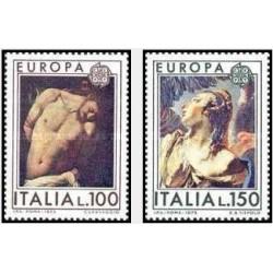 2 عدد تمبرمشترک اروپا - Europa Cept - تابلو نقاشی - ایتالیا 1975