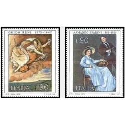 2 عدد تمبر  هنر ایتالیایی - تابلو نقاشی - ایتالیا 1975