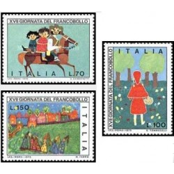 3 عدد تمبر روز تمبر - تابلو نقاشی - ایتالیا 1975