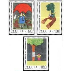 3 عدد تمبر روز تمبر - نقاشی کودک - ایتالیا 1976